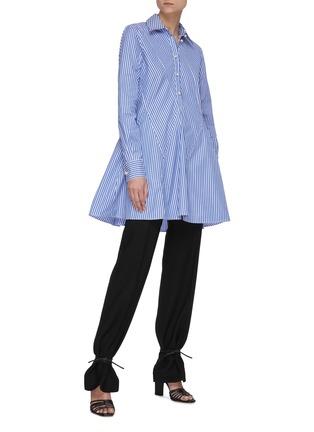 Figure View - Click To Enlarge - JW ANDERSON - 'Godet' stripe cinch shirt