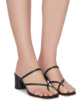 Figure View - Click To Enlarge - AEYDE - 'Larissa' asymmetric toe ring block heel leather sandals