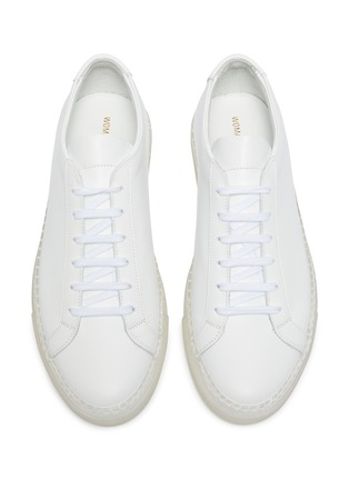 Detail View - Click To Enlarge - COMMON PROJECTS - 'Original Achilles' clear sole low top lace up leather sneakers