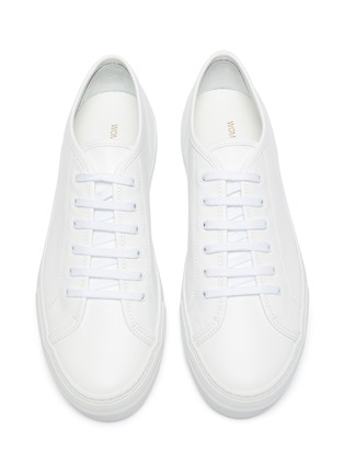 Detail View - Click To Enlarge - COMMON PROJECTS - 'Tournament' low top platform leather sneakers