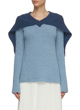 Main View - Click To Enlarge - JW ANDERSON - Cape detail V neck rib knit sweater