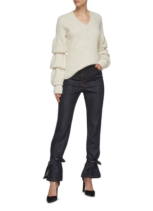 Figure View - Click To Enlarge - JW ANDERSON - Bubble sleeve rib knit sweater