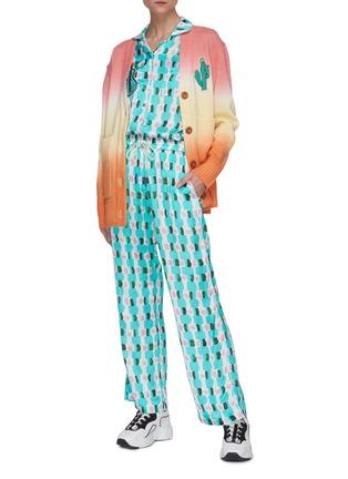Figure View - Click To Enlarge - MIRA MIKATI - Aqua brick print graphic embroidered shirt