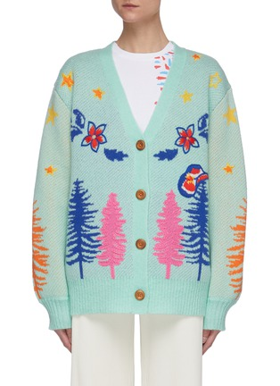 Main View - Click To Enlarge - MIRA MIKATI - Graphic embroidered knit cardigan