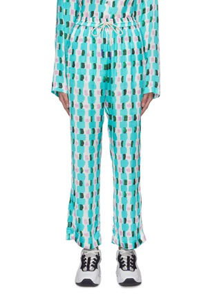 Main View - Click To Enlarge - MIRA MIKATI - Aqua brick print pants