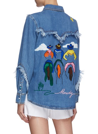 Back View - Click To Enlarge - MIRA MIKATI - Embroidered Western Fringe Denim Shirt