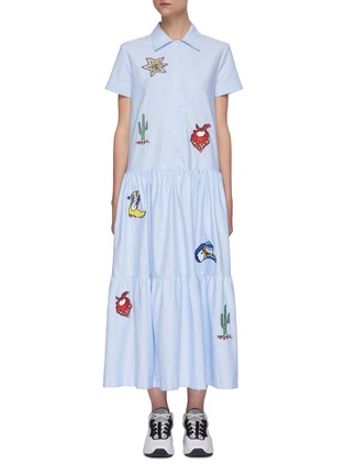 Main View - Click To Enlarge - MIRA MIKATI - Graphic embroidered shirtdress