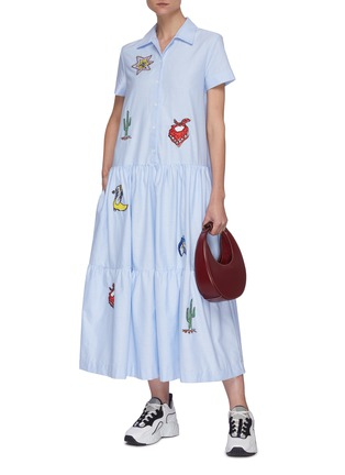 Figure View - Click To Enlarge - MIRA MIKATI - Graphic embroidered shirtdress