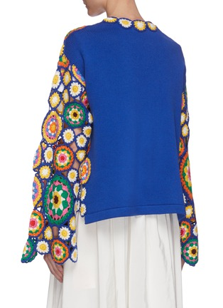 Back View - Click To Enlarge - MIRA MIKATI - Floral hand crochet asymmetric cardigan