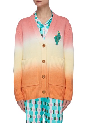 Main View - Click To Enlarge - MIRA MIKATI - Cactus embroidered hand dyed ombre knit cardigan