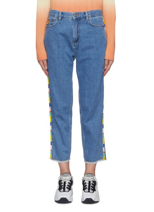 Main View - Click To Enlarge - MIRA MIKATI - Beaded trim high waist jeans