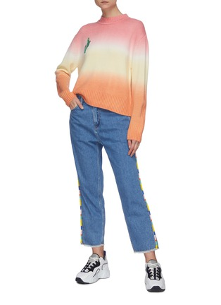 Figure View - Click To Enlarge - MIRA MIKATI - Beaded trim high waist jeans