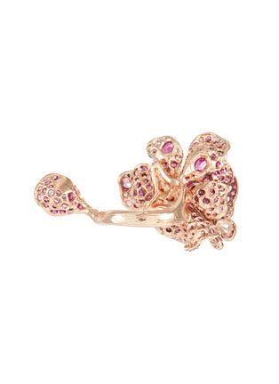 Detail View - Click To Enlarge - ANABELA CHAN - Ruby Peony Butterfly' gemstone 18k rose gold rhodium vermeil ring