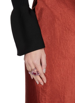 Figure View - Click To Enlarge - ANABELA CHAN - Ruby Peony Butterfly' gemstone 18k rose gold rhodium vermeil ring