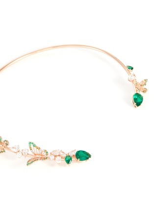 Detail View - Click To Enlarge - ANABELA CHAN - Butterfly Emerald' gemstone 18k rose gold vermeil collar choker