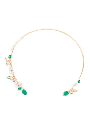 Main View - Click To Enlarge - ANABELA CHAN - Butterfly Emerald' gemstone 18k rose gold vermeil collar choker