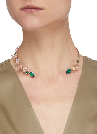 Figure View - Click To Enlarge - ANABELA CHAN - Butterfly Emerald' gemstone 18k rose gold vermeil collar choker