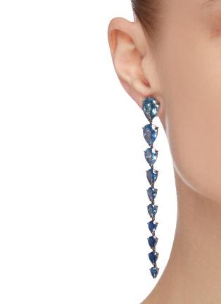 Figure View - Click To Enlarge - ANABELA CHAN - Aqua Nova' gemstone 18k white gold rhodium vermeil drop earrings