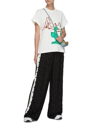 Figure View - Click To Enlarge - MIRA MIKATI - Embroidered cactus waffle knit T-shirt
