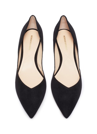 Detail View - Click To Enlarge - NICHOLAS KIRKWOOD - Casiti' faux pearl heel suede D'orsay flats