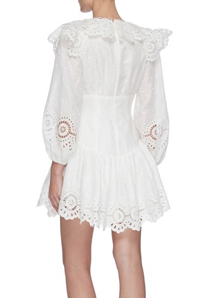 Back View - Click To Enlarge - ZIMMERMANN - 'Bellitude' scallop puff sleeve mini dress