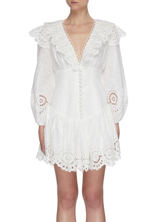 Main View - Click To Enlarge - ZIMMERMANN - 'Bellitude' scallop puff sleeve mini dress