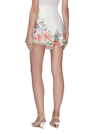 Back View - Click To Enlarge - ZIMMERMANN - 'Bellitude' contrast floral print ribbon waist scallop trim shorts