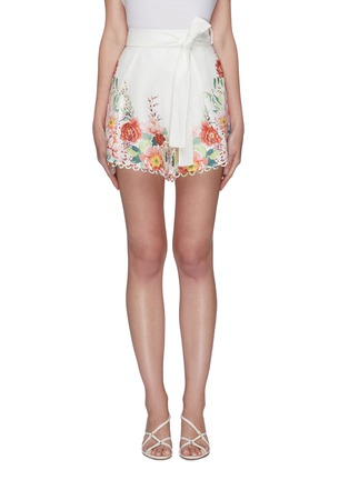 Main View - Click To Enlarge - ZIMMERMANN - 'Bellitude' contrast floral print ribbon waist scallop trim shorts