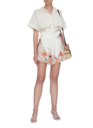Figure View - Click To Enlarge - ZIMMERMANN - 'Bellitude' contrast floral print ribbon waist scallop trim shorts