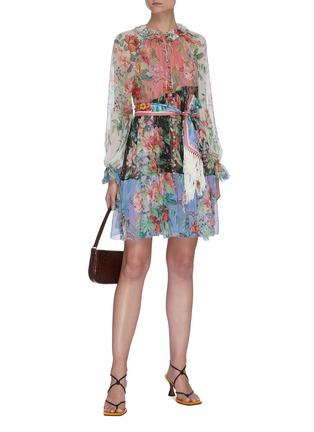 Figure View - Click To Enlarge - ZIMMERMANN - 'Bellitude' colourblock floral print tassel waist silk mini dress