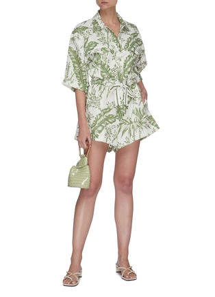 Figure View - Click To Enlarge - ZIMMERMANN - 'Empire' botanical print utility playsuit