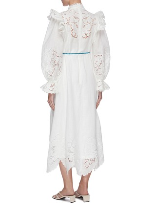 Back View - Click To Enlarge - ZIMMERMANN - 'Carnaby' floral broderie scallop trim stand collar maxi dress
