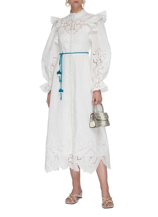 Figure View - Click To Enlarge - ZIMMERMANN - 'Carnaby' floral broderie scallop trim stand collar maxi dress