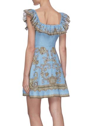 Back View - Click To Enlarge - ZIMMERMANN - 'Fiesta' ruffle square neck paisley print mini dress