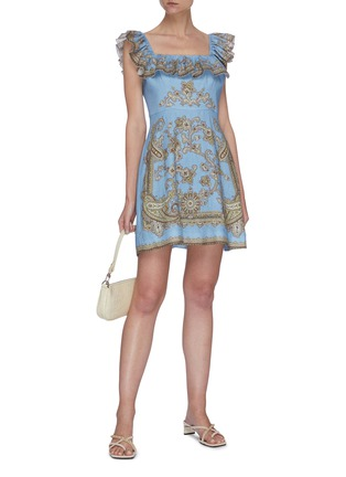 Figure View - Click To Enlarge - ZIMMERMANN - 'Fiesta' ruffle square neck paisley print mini dress