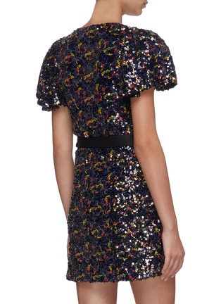 Back View - Click To Enlarge - ROTATE - Frida sequin wrap front dress