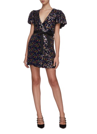 Figure View - Click To Enlarge - ROTATE - Frida sequin wrap front dress
