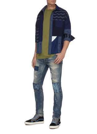 Figure View - Click To Enlarge - FDMTL - Rip and repair boro patchwork skinny jeans