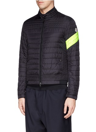 Front View - Click To Enlarge - Moncler - 'Roi' neon stripe quilted jacket