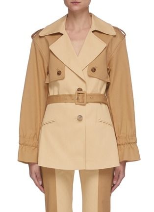 Main View - Click To Enlarge - JONATHAN SIMKHAI - Two Tone Belted Cotton Jacket