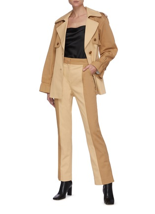 Figure View - Click To Enlarge - JONATHAN SIMKHAI - Two Tone Belted Cotton Jacket