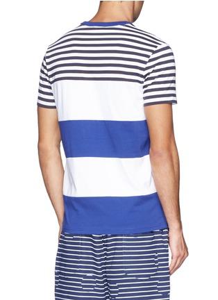 Back View - Click To Enlarge - Moncler - Contrast stripe cotton T-shirt