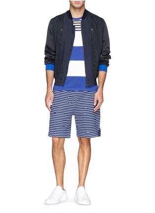 Figure View - Click To Enlarge - Moncler - Contrast stripe cotton T-shirt