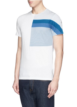 Front View - Click To Enlarge - Moncler - 'Maglia' mix pattern panel cotton T-shirt
