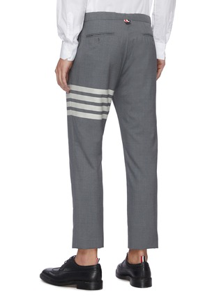 Back View - Click To Enlarge - THOM BROWNE - Four Bar Stripe Low Waist Wool Suiting Pants