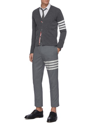 Figure View - Click To Enlarge - THOM BROWNE - Four Bar Stripe Low Waist Wool Suiting Pants