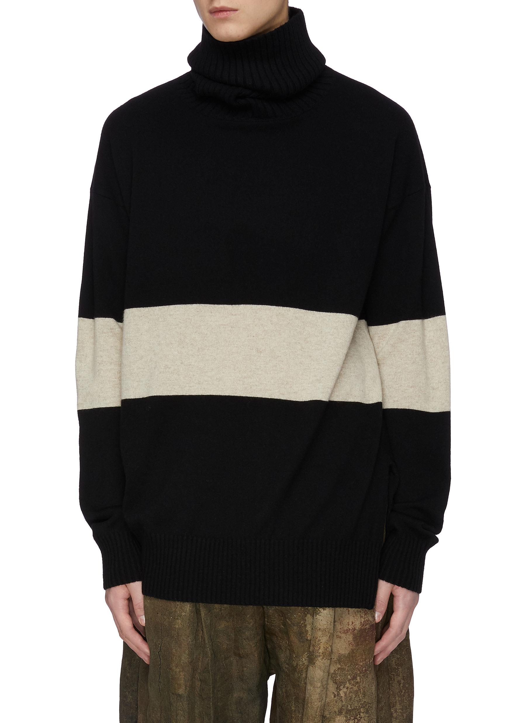 Ziggy Chen Ribbed Turtleneck Colourblock Cashmere Knit Sweater In Black