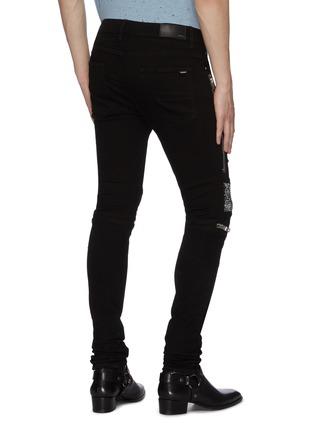 Back View - Click To Enlarge - AMIRI - MX2' bandana panelled zip knee dark wash jeans