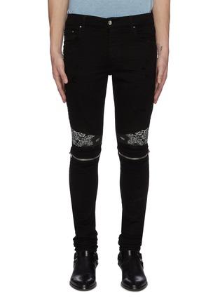 Main View - Click To Enlarge - AMIRI - MX2' bandana panelled zip knee dark wash jeans