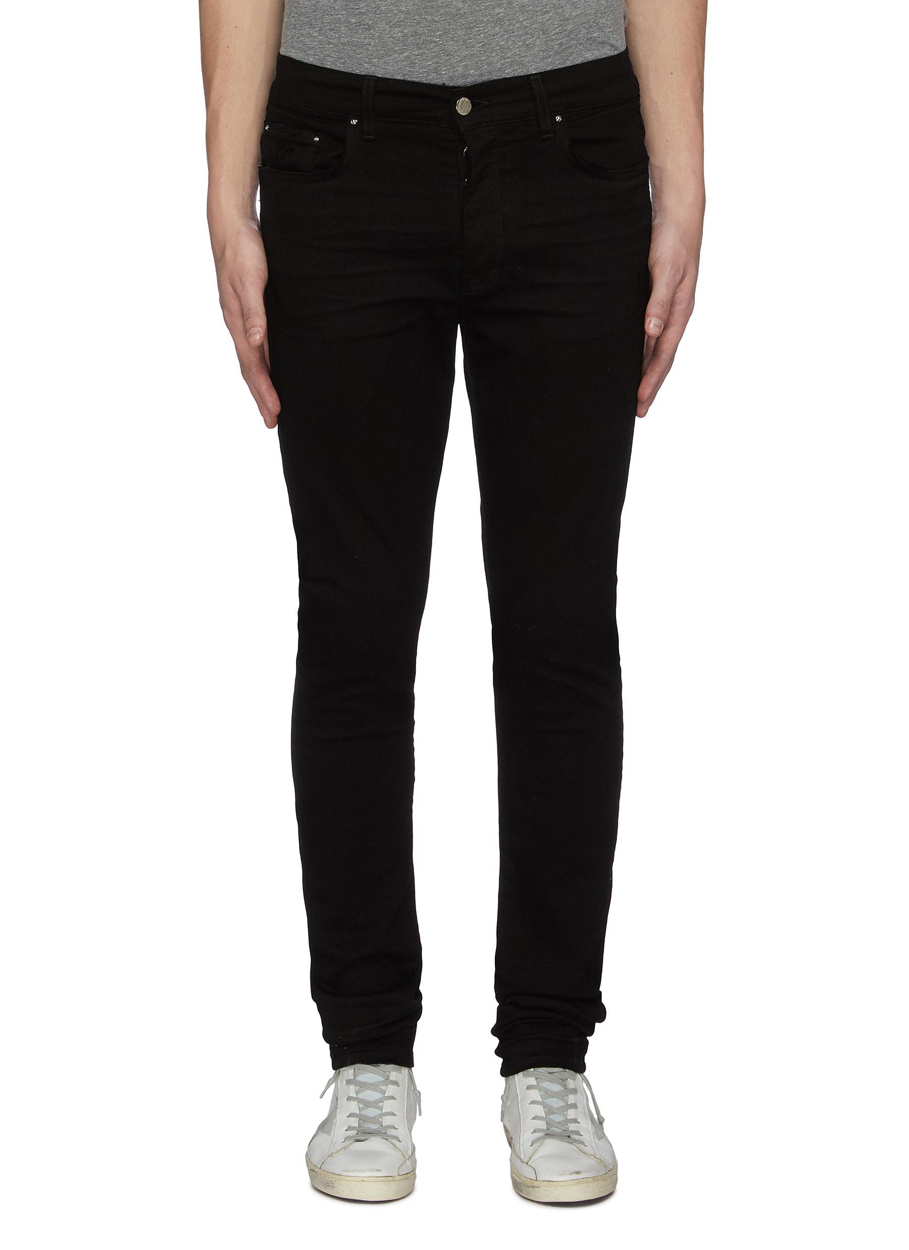 Stacked dark wash slim fit jeans